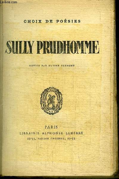 SULLY PRUDHOMME - CHOIX DE POESIES