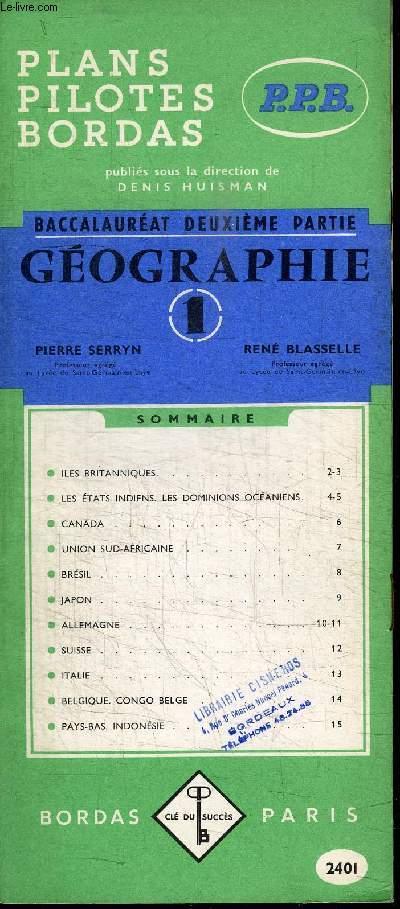 BACCALAUREAT DEUXIEME PARTIE - GEOGRAPHIE - 2401