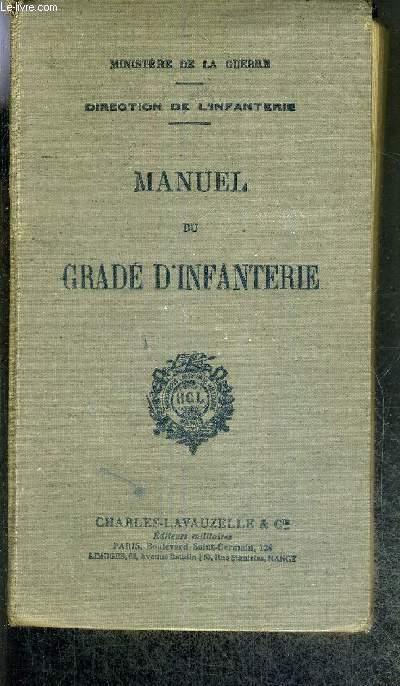 MANUEL DU GRADE D'INFANTERIE - DIRECTION DE L'INFANTERIE