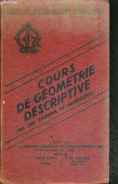 COURS DE GEOMETRIE DESCRIPTIVE - CLASSE DE MATHEMATIQUES ELEMENTAIRES