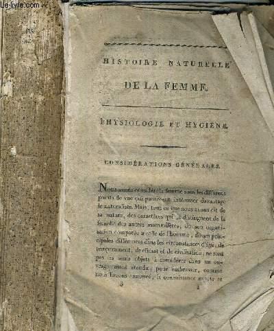 HISTOIRE NATURELLE DE LA FEMME