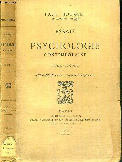 ESSAIS DE PSYCHOLOGIE CONTEMPORAINE - TOME SECOND