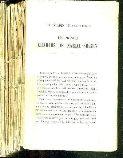 UN PALADIN AU XVIIIe SIECLE - LE PRINCE CHARLES DE NASSAU-SIEGEN