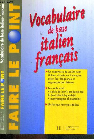 VOCABULAIRE DE BASE ITALIEN FRANCAIS