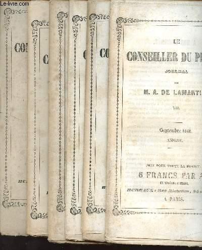 LOT DE 6 VOLULES : LE CONSEILLER DU PEUPLE - JOURNAL PAR M.A. DE LAMARTINE - TOME II juin 1849 + III mai 1849 + IV juillet 1849 + V aout 1849 + VI septembre 1849 + VII septembre 1849