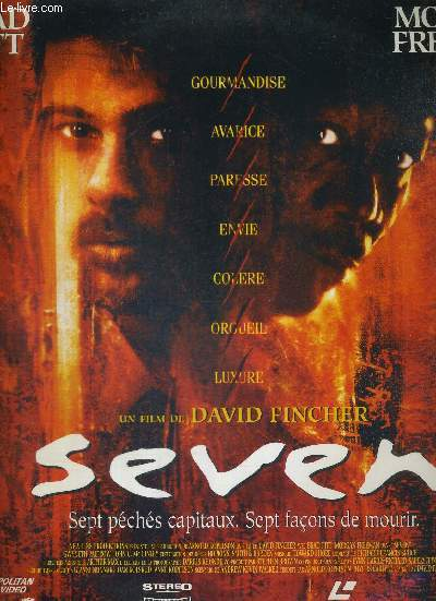 1 LASERDISC - SEVEN - SEPT PECHES CAPITAUX, SEPT FACONS DE MOURIR - UN FILM DE DAVID FINCHER / avec Morgan Freeman / Brad Pitt / Gwyneth Paltrow