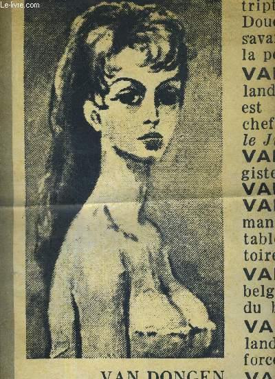 1 FEUILLET  : VAN DONGEN - PORTRAIT DE BRIGITTE BARDOT / pour B.B. il a retrouvé la palette qui fit scandale / il y a 40 ans son modèle s'appelait monsieur France / tout ce qui fait 1960 était deja la.