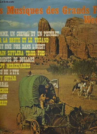 1 DISQUE AUDIO 33 TOURS - LES MUSIQUES DES GRANDS FILMS WESTERN - VOL. 1 / un homme, un cheval et un pistolet / le bon, la brute et le truand / il était une fois dans l'ouest / le train sifflera trois fois / une poignée de dollars...