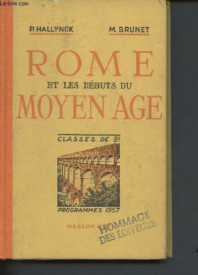 Rome et les débuts du Moyen âge - classes de 5ème - enseignement du second degré, programmes 1957