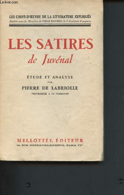Les satires de Juvénal, études et analyses (Collection