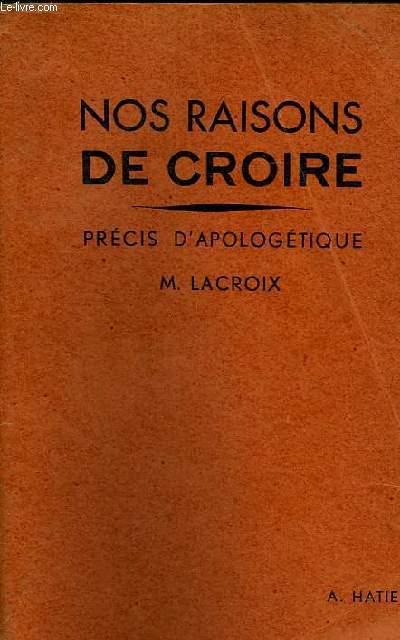 NOS RAISONS DE CROIRE