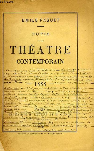 NOTES SUR LE THEATRE CONTEMPORAIN, 1888