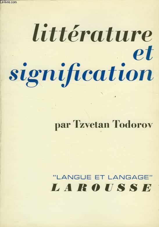 LITTERATURE ET SIGNIFICATION