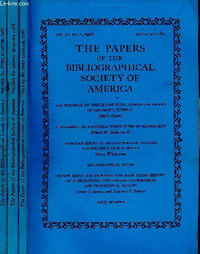 THE PAPERS OF THE BIBLIOGRAPHICAL SOCIETY OF AMERICA, VOL. 80, N° 1, 2, 3, 1986