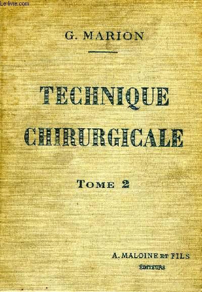 MANUEL DE TECHNIQUE CHIRURGICALE, TOME II