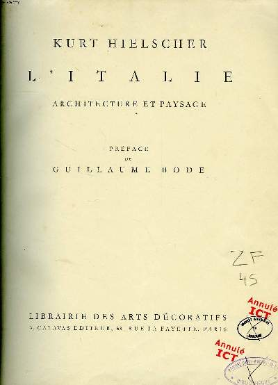 L ITALIE ARCHITECTURE ET PAYSAGE.