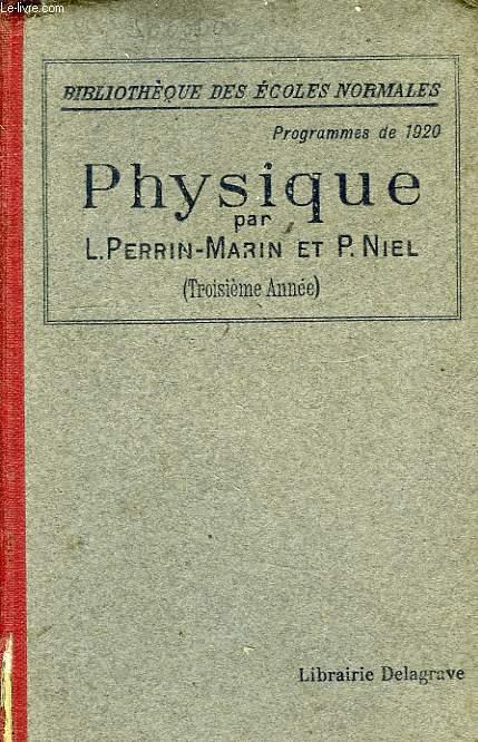 COURS DE PHYSIQUE, 3e ANNEE