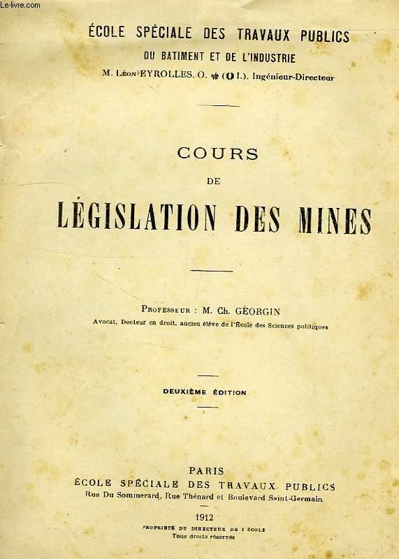 COURS DE LEGISLATION DES MINES