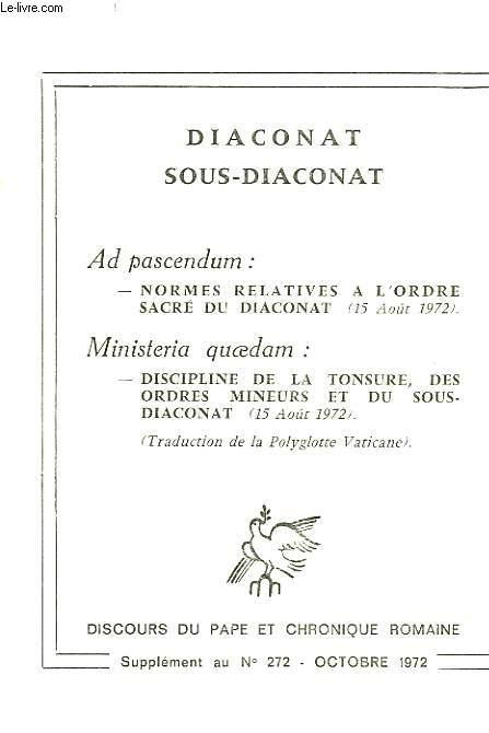 DIACONAT, SOUS-DIACONAT, AD PASCENDUM, MINISTERIA QUAEDAM
