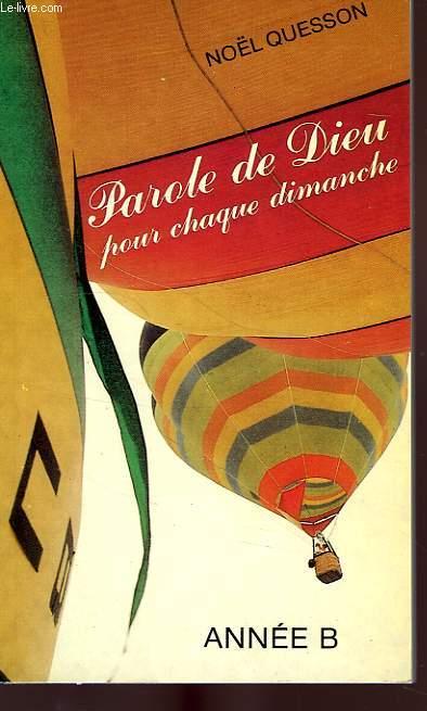 PAROLE DE DIEU POUR CHAQUE DIMANCHE, ANNEE B