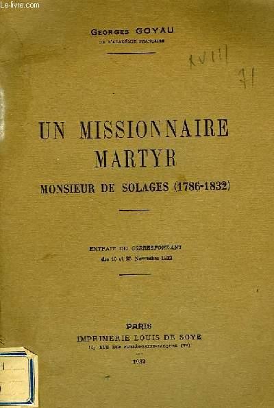 UN MISSIONNAIRE MARTYR, MONSIEUR DE SOLAGES (1786-1832)