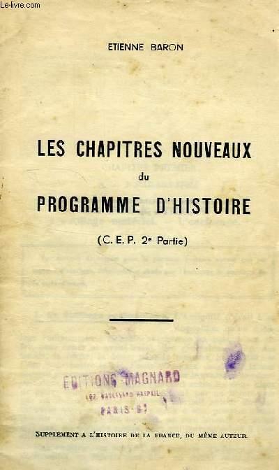 LES CHAPITRES NOUVEAUX DU PROGRAMME D'HISTOIRE (CEP, 2e PARTIE)