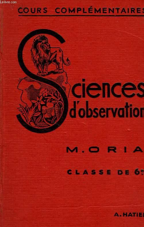 SCIENCES D'OBSERVATION, ZOOLOGIE, BOTANIQUE, CLASSE DE 6e