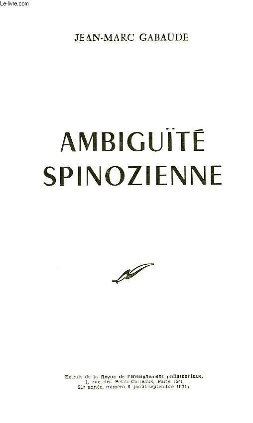 AMBIGUITE SPINOZIENNE