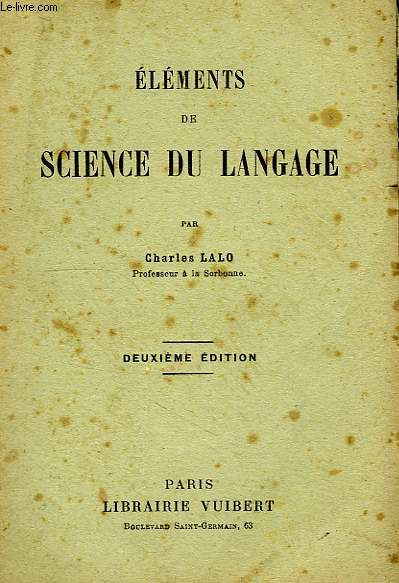 ELEMENTS DE SCIENCE DU LANGAGE