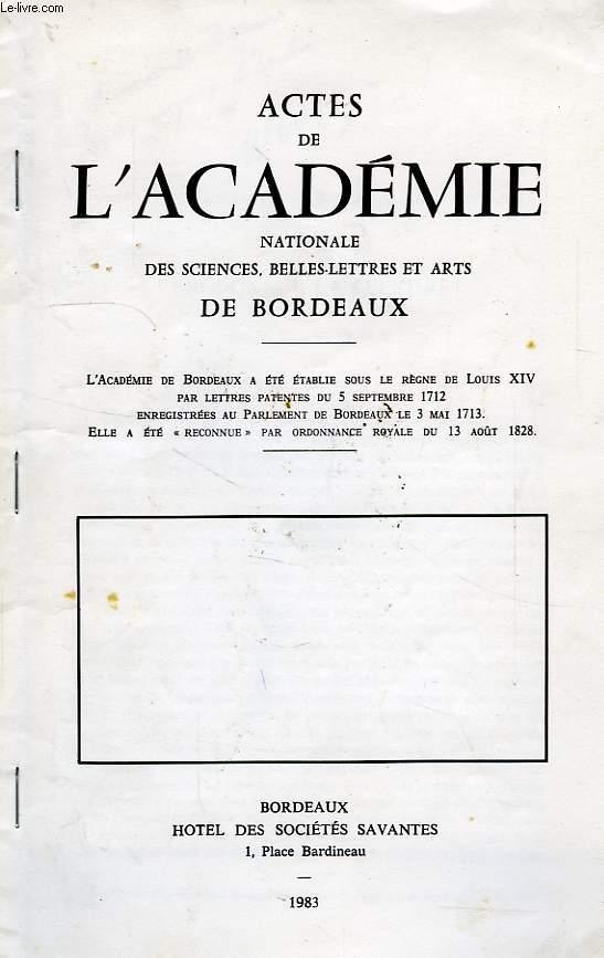 ACTES DE L'ACADEMIE NATIONALE DES SCIENCES, BELLES-LETTRS ET ARTS DE BORDEAUX, SEANCE DU 24 NOV. 1983, PROPOS SUR LA LECTURE