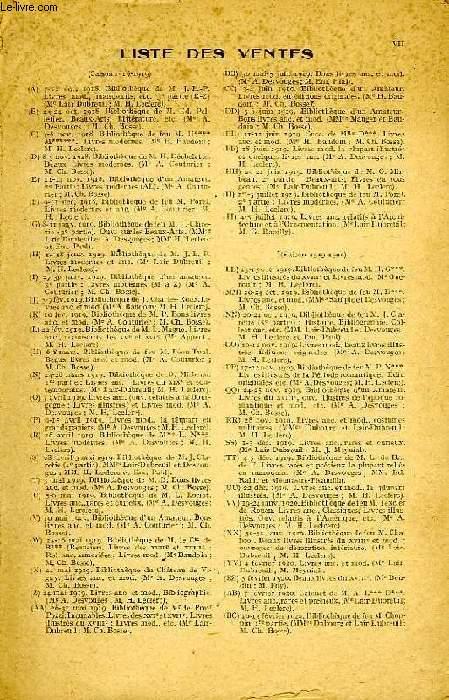 ANNUAIRE DES VENTES DE LIVRES, 1re ANNEE, OCT. 1918 - JUILLET 1920