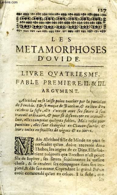 LES METAMORPHOSES D'OVIDE, SUIVI DU JUGEMENT DE PÂRIS