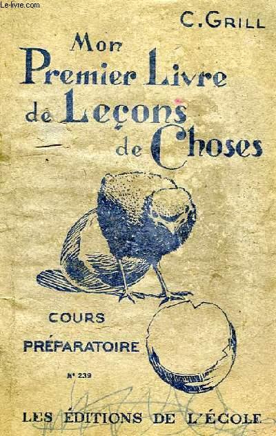 MON PREMIER LIVRE DE LECONS DE CHOSES, CP, CLASSE DE 11e