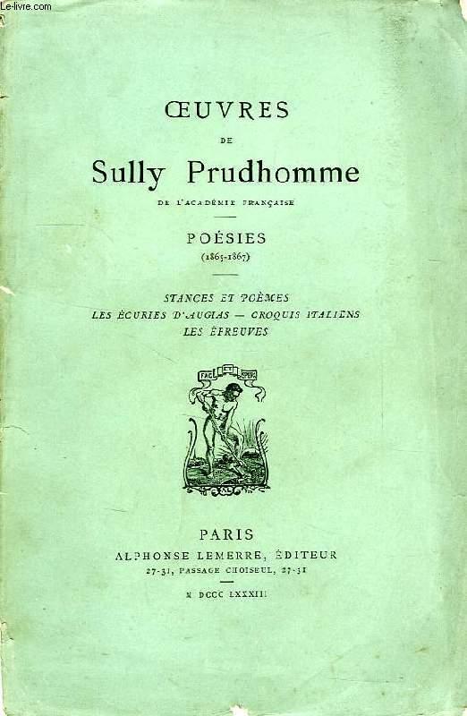 OEUVRES DE SULLY PRUDHOMME, 3 VOLUMES: I. POESIES (1865-1867), II. POESIES (1868-1878), III. POESIES (1878-1879)