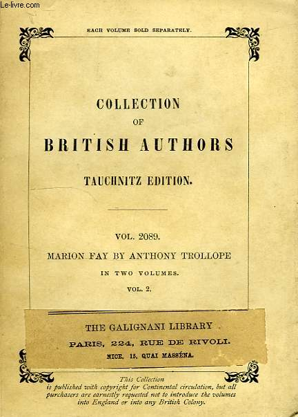 MARION FAY, A NOVEL (VOL. 2089), IN TWO VOLUMES, VOLUME II
