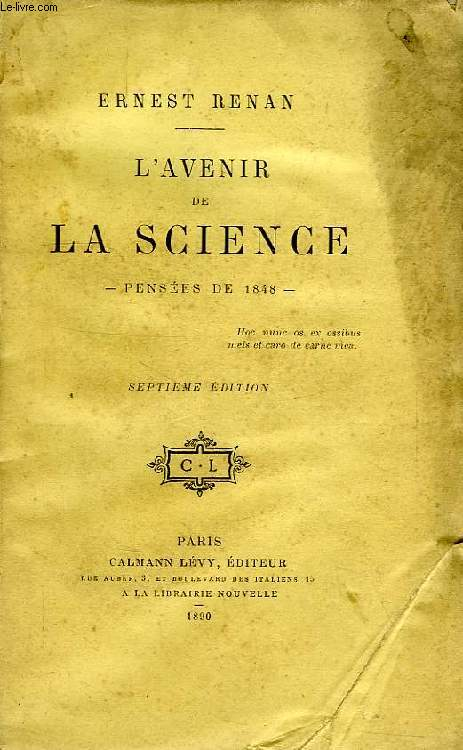 L'AVENIR DE LA SCIENCE, PENSEES DE 1848
