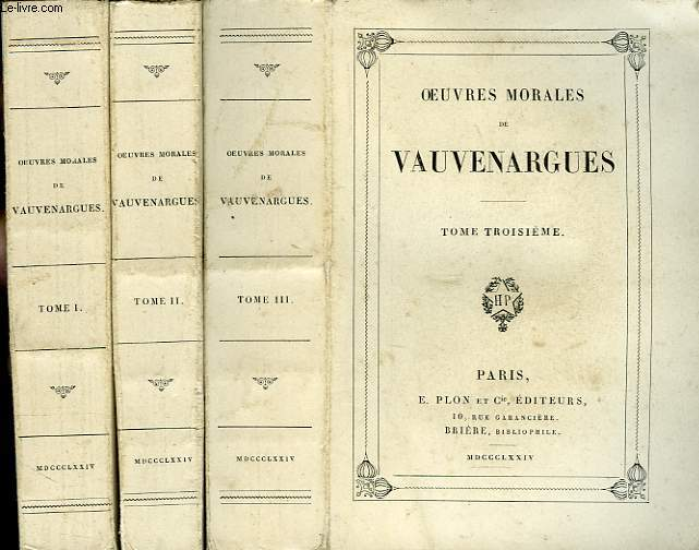 OEUVRES MORALES, 3 TOMES