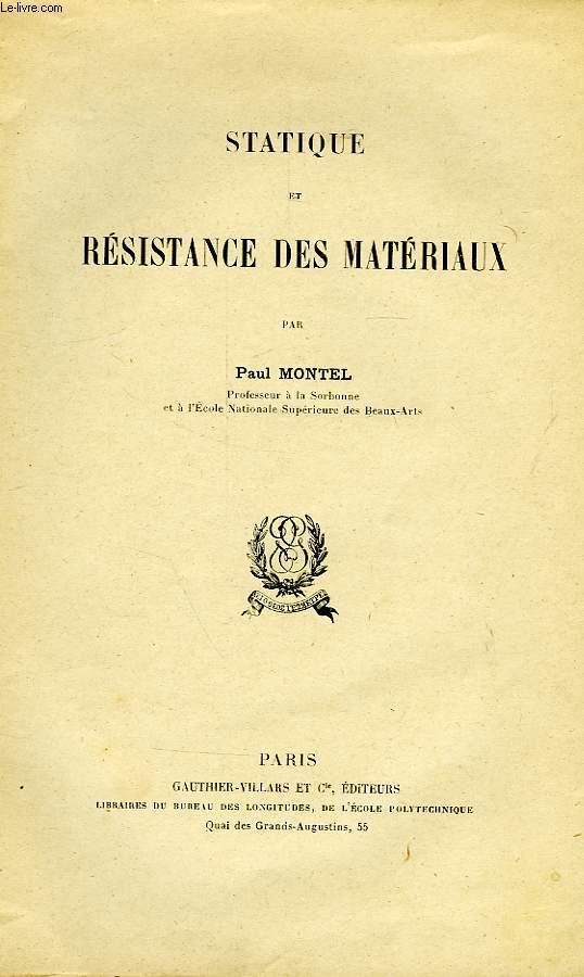 STATIQUE ET RESISTANCE DES MATERIAUX