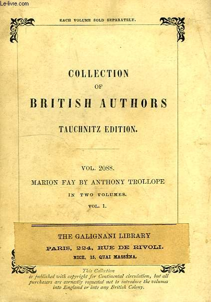 MARION FAY, A NOVEL (VOL. 2088), IN TWO VOLUMES, VOLUME I