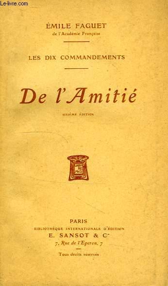 DE L'AMITIE