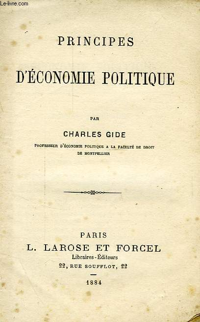 PRINCIPES D'ECONOMIE POLITIQUE