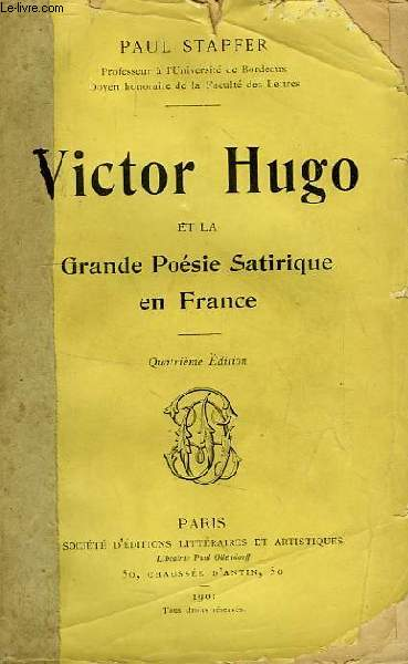 VICTOR HUGO ET LA GRANDE POESIE SATIRIQUE EN FRANCE