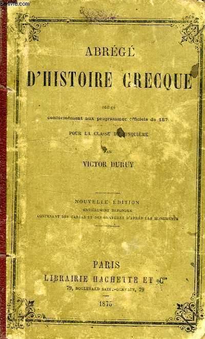 ABREGE D'HISTOIRE GRECQUE, CLASSE DE 5e