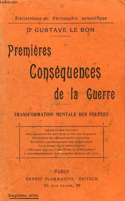 PREMIERES CONSEQUENCES DE LA GUERRE, TRANSFORMATION MENTALE DES PEUPLES