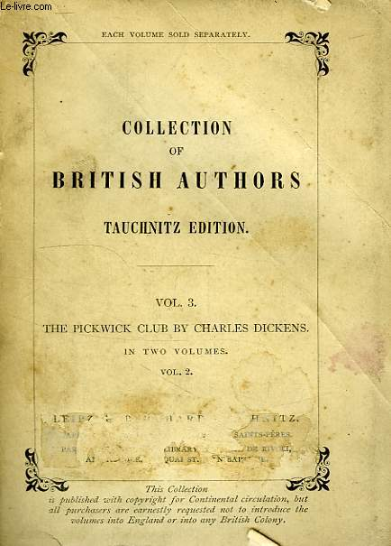 THE POSTHUMOUS PAPERS OF THE PICKWICK CLUB, VOL. II