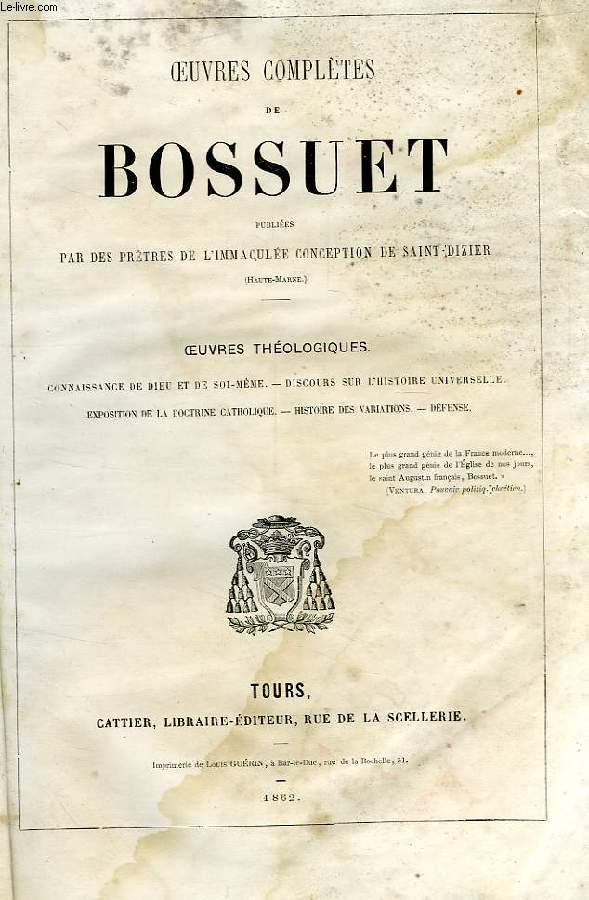 OEUVRES COMPLETES DE BOSSUET, OEUVRES THEOLOGIQUES