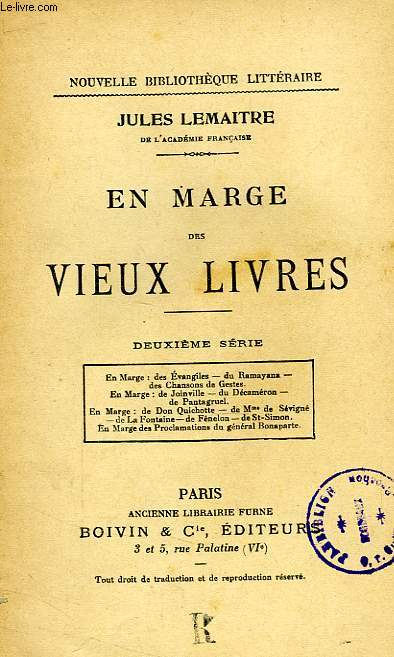EN MARGE DES VIEUX LIVRES, 2e SERIE