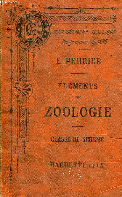 ELEMENTS DE ZOOLOGIE, CLASSE DE 6e