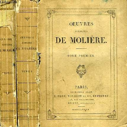 OEUVRES COMPLETES DE MOLIERE, 2 TOMES