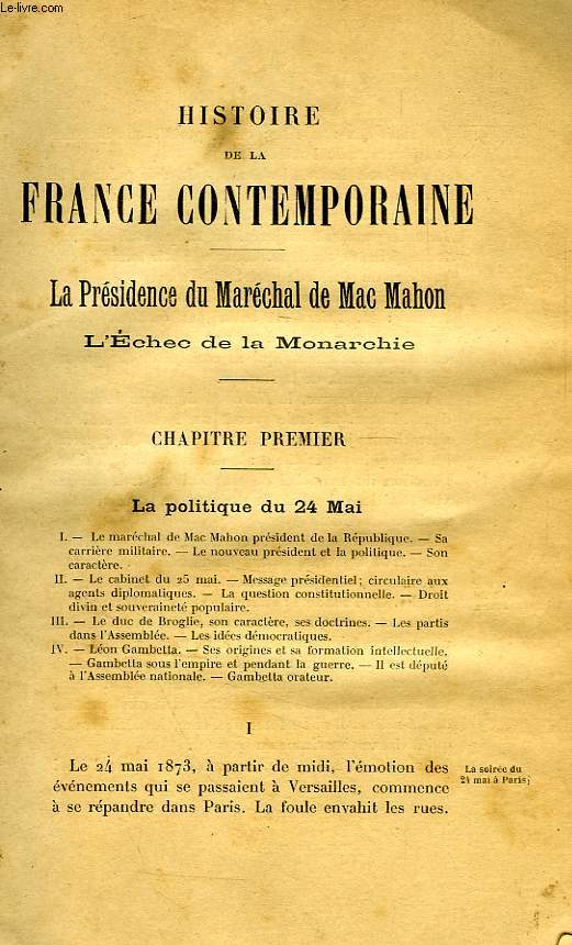 HISTOIRE DE LA FRANCE CONTEMPORAINE, TOME II